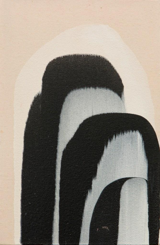 Marcella Madeira, preto e branco 2016, esmalte sobre tela, 20 x 30 cm